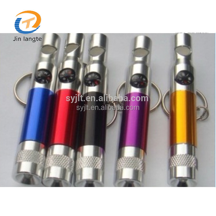 Mini whistle led flashlight with keychain compass whistle for promotion