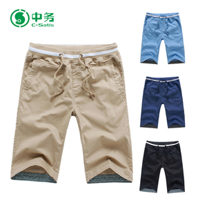 Wholesale Custom Logo Summer Casual Mens Chino Shorts with Elastic Waist