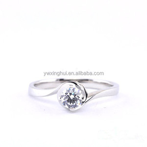 High quality silver color fake diamond engagement wedding ring