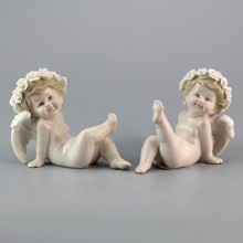 BSCI Schöne Weiße Baby Ceramic Little Angel <span class=keywords><strong>Statue</strong></span>
