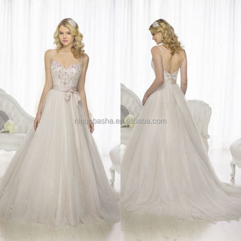 2015 Chic A Line Wedding Dress With Sweetheart Neckline Spaghetti Straps Beaded Satin Bodice Tulle