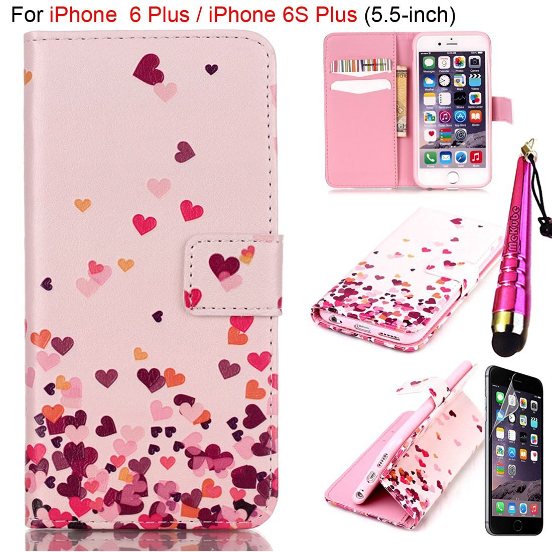 "iPhone 6 Plus Case, iPhone 6S Plus Case [5.5-inch], MeKube® Magnetic Flip Stand Card Holder Wallet PU Leather Case Pouch Cover W/ Stylus For iPhone 6 Plus, 6S Plus (5.5"") (Pink Love Hearts)"
