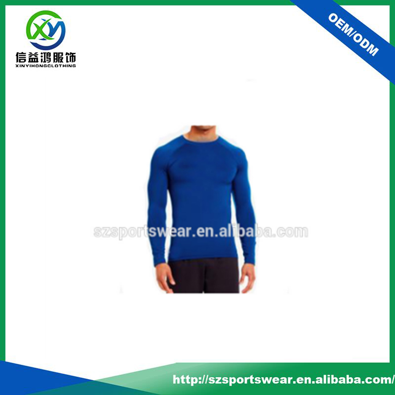 Plain Blue Color Long Sleeve Muscle Coolmax Sports Shirts For Men