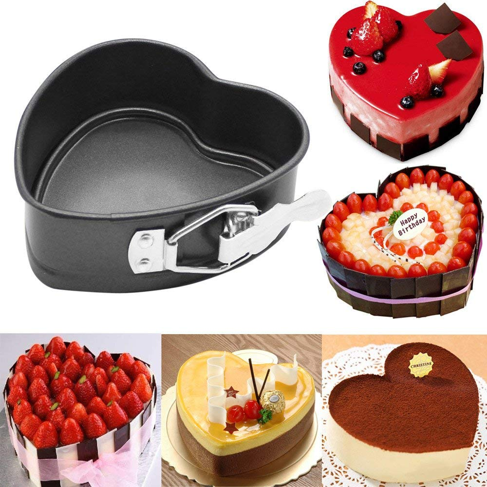 Cake Moulds For Baking,Hongxin Non-Stick Love Heart Shape Cake Pan Tin DIY Cake Mold Baking Cheese Bread Dessert Tray Decoration Tools