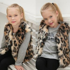 X63735A Baby Girl 2017 Autumn Winter Faux Fur Waistcoat Fashion Leopard Warm Vests