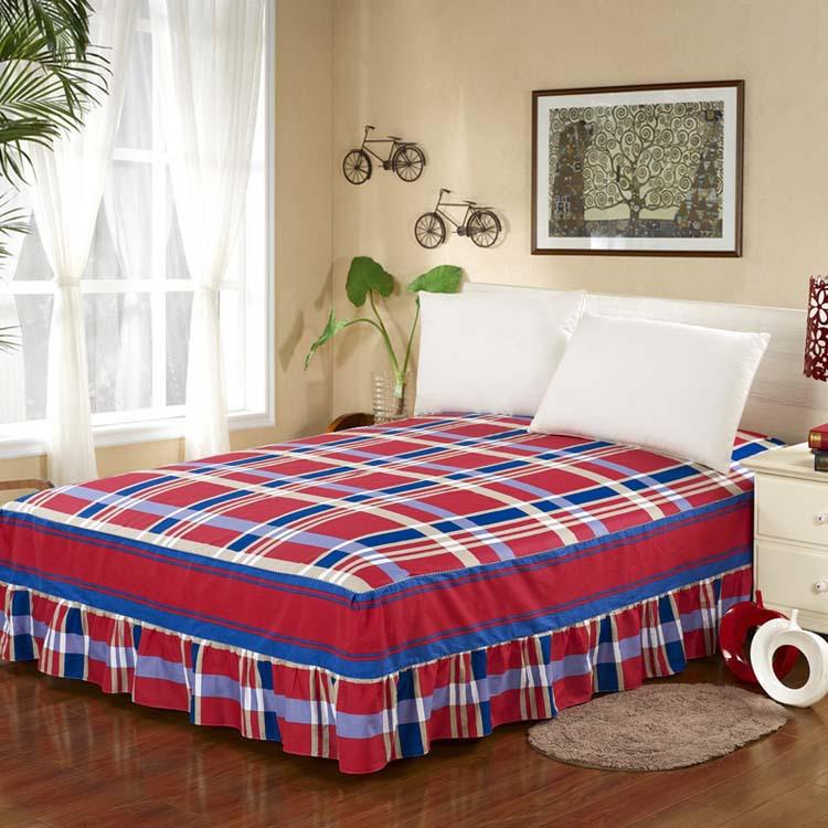 100 coton couvre lits au lit jupe drap de lit lits full reine taille king size violet. Black Bedroom Furniture Sets. Home Design Ideas