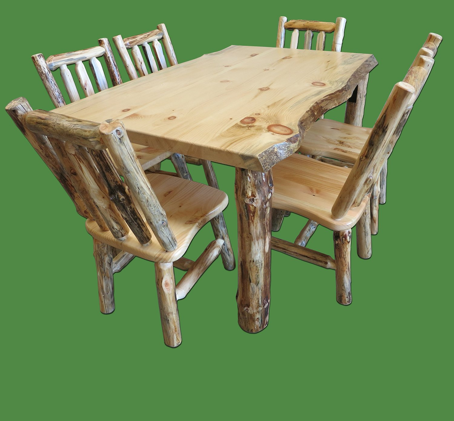 Get Quotations Midwest Log Furniture Rustic Pine Dining Table W 6 Chairs