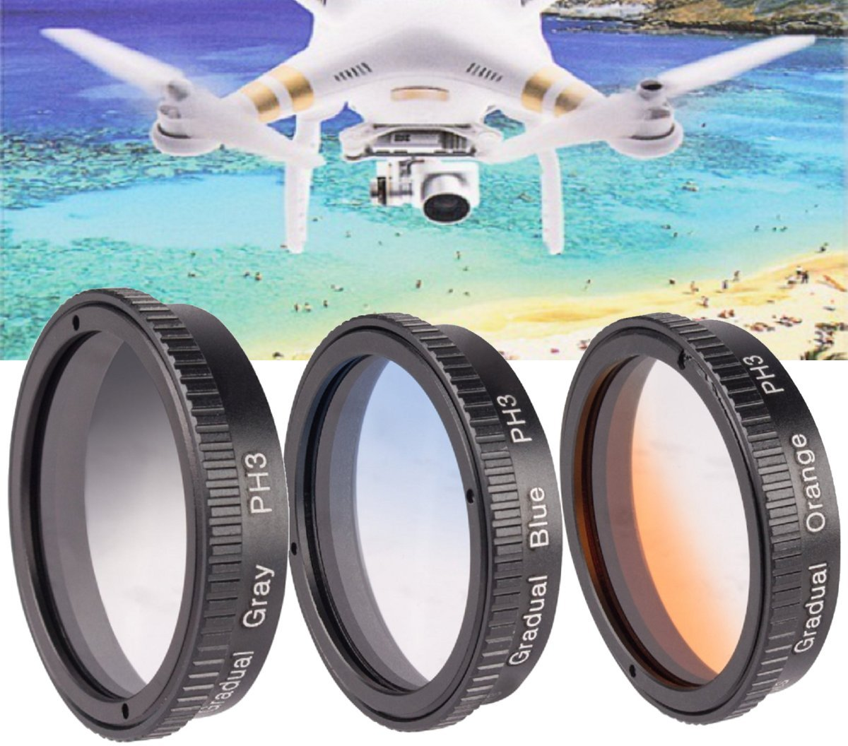 3 Piece Gradual Color Filter Kit for DJI Phantom 3 4K,DJI Phantom 3 Standard, DJI Phantom 3 Advanced, DJI Phantom 3 Pro, DJI Phantom 4 Quad-copters
