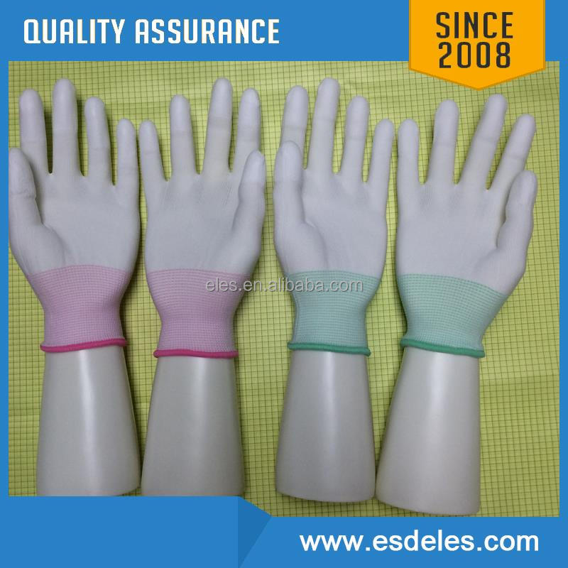 "10"" ESD Polyester Dotted Gloves / Antistatic Clean Room PVC coated Glove 5mm Stripe"