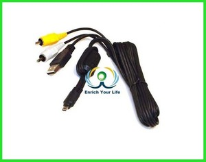 USB & AV Audio-Video Cable for Nikon UC-E6 Olympus T-100 FE-47 FE-4000 FE-230