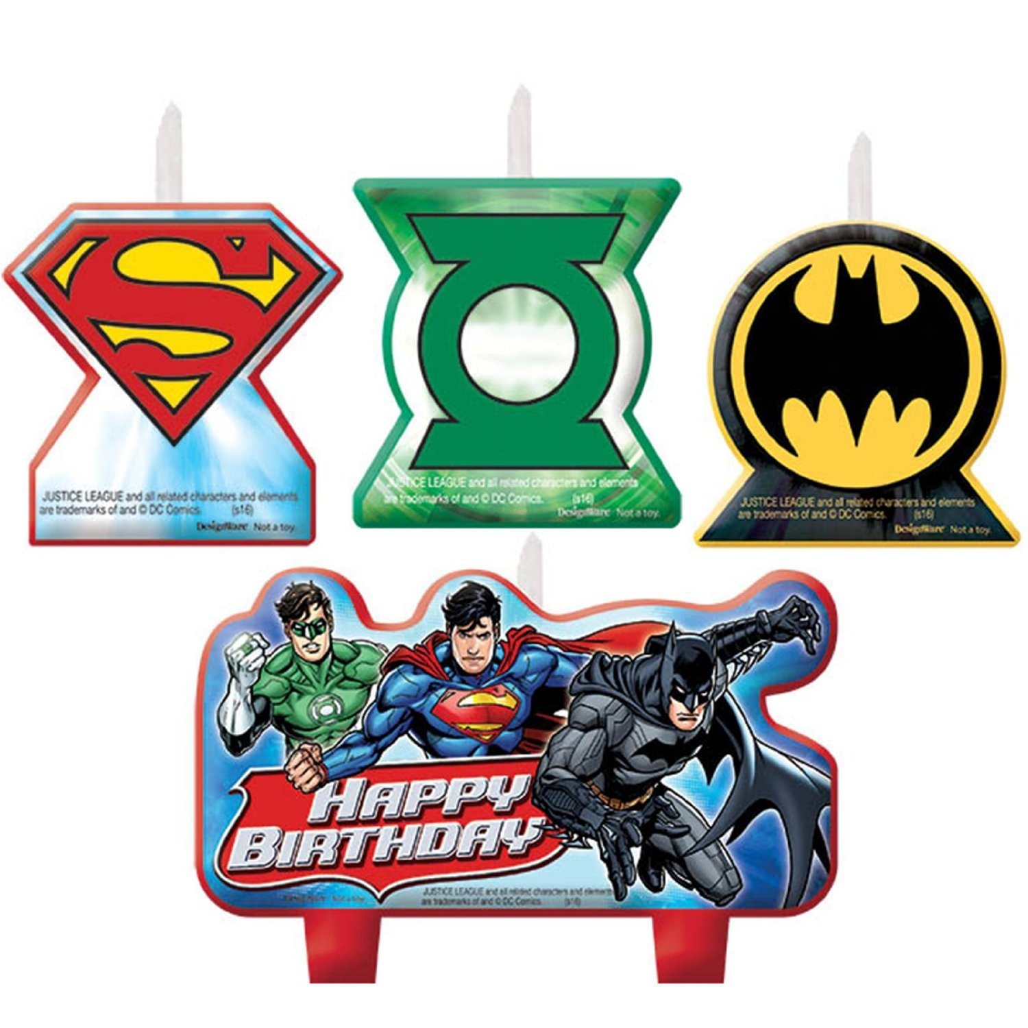 Adventure Filled Justice League Birthday Party Decorative Cake Candle Set, Multi Colored, Wax, Assorted Sizes, 4-Piece