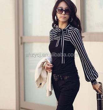Las T Shirt Fashion Stripe Blouse