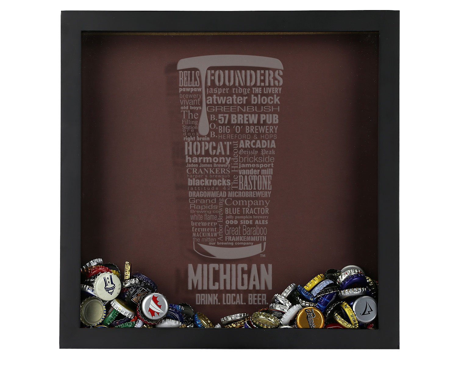 Beer Cap Shadow Box, Michigan Typography