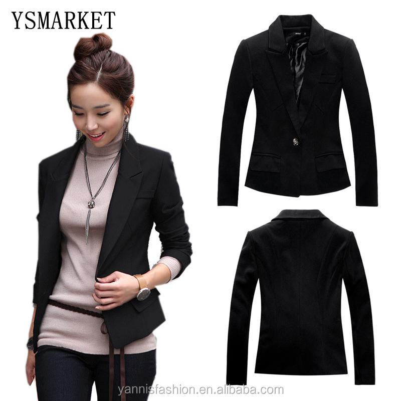 feminino ol formal hembra bsica negro blazer chaquetas chaquetas cortas mujer mujer delgada de manga