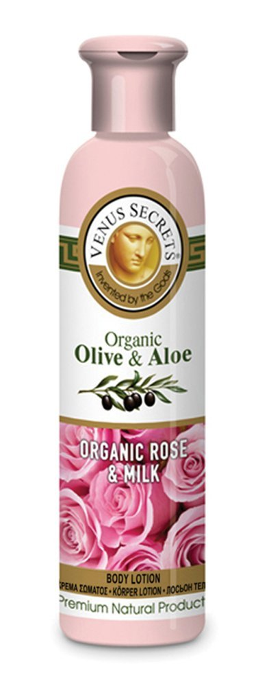 Organic Aloe Skin Care / Body Lotion / Organic Olive & Aloe with Organic Rose & Milk / 250ml / Body Moisturiser For Dry Skin / Natural Cosmetics / Vitamins for Hydration / Organic Extracts and Oils