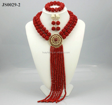 Fabulous Red Gold Crystal African Wedding Beads Bridal Jewelry Sets Nigerian Necklace African Jewelry Set JS0029-2