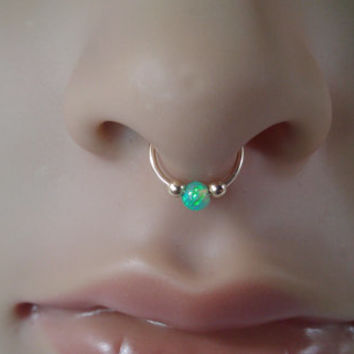 Silver Septum Ring Green Opal Nose Ring Buy Opal Nose Ring Septum Ring Sterling Silver Nose Ring Product On Alibaba Com