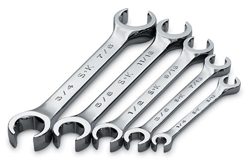 SK 381 SuperKrome 5 Piece 6 Point 1/4-inch to 7/8-Inch Flare Nut Wrench Set