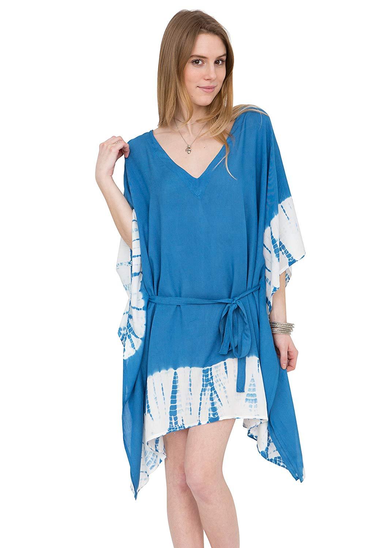 57eaba89b3 Get Quotations · likemary V-Neck Tie Dye Kaftan Summer Blue