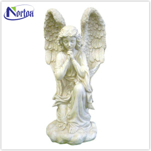 Outdoor decor white granite angel statues NTBM-351A