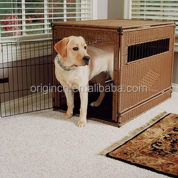 Cheap Airy Rectangular Design Rattan Indoor Dog House With