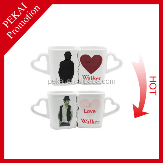 2015 hot selling valentine wholesale gifts ceramic 3 handle mugs made in China