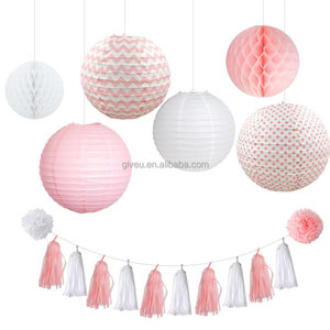 New Wedding Decoration Royal Blue Tissue Paper Pompom and Paper Lantern Party Sets Party Supplies