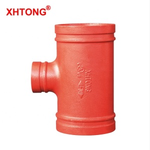 FM/UL Approved Ductile Iron Pipe Fitting Grooved Reducing Tee for fire fighting equipment