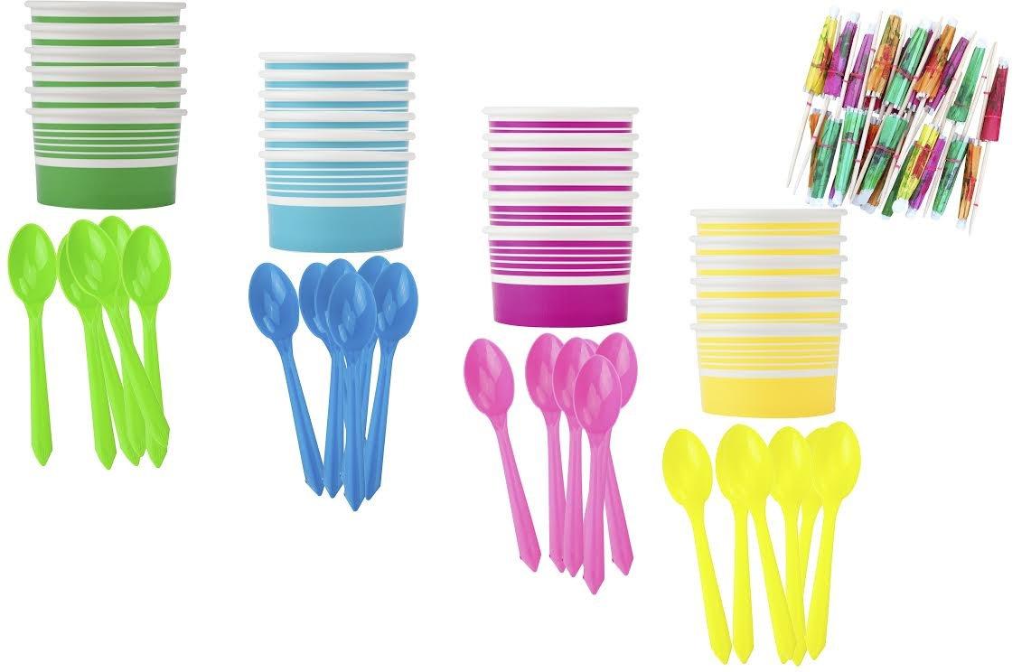 Ice Cream Sundae Kit - Yellow Blue Pink Green - Paper Dessert Cups - Plastic Spoons - Paper Umbrellas - Birthday Party Goods - 16 Each