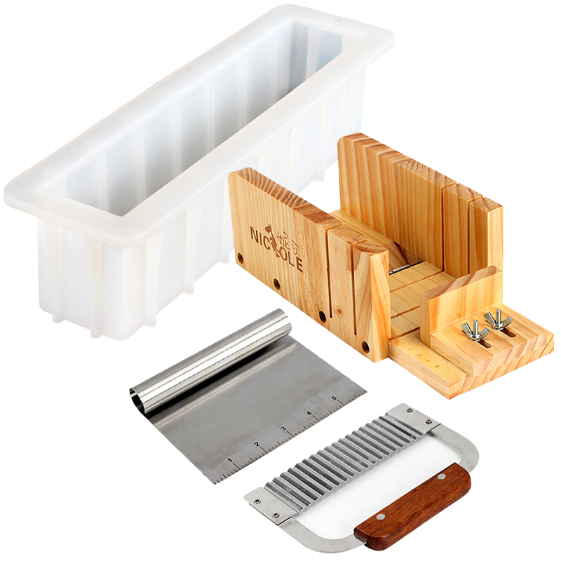 Nicole Loaf Soap Cutter Tools Adjustable Portable Wooden Soap Cutter Box With Stainless Steel Blade Soap Cold Processing фото