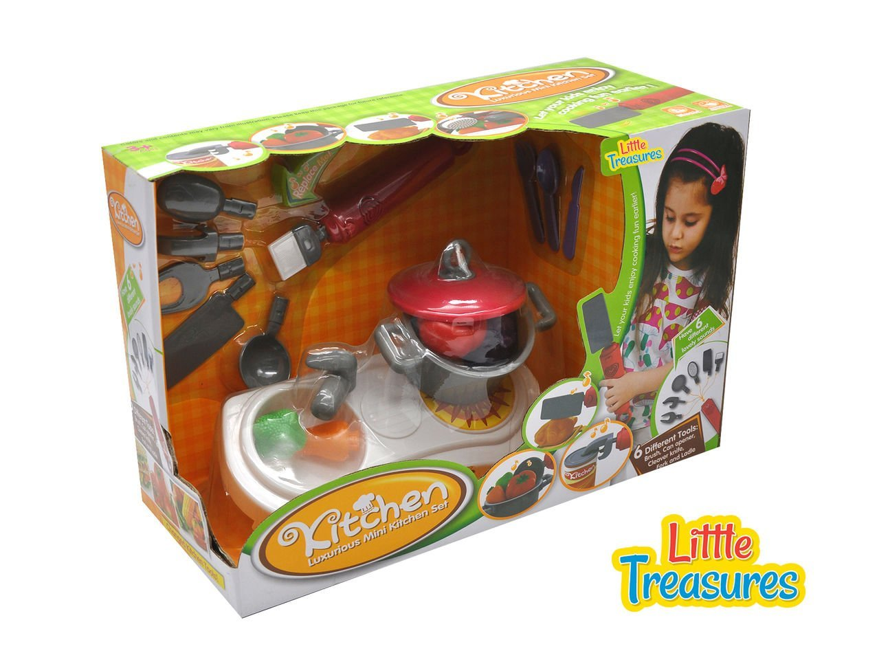 Quality Kitchen set from Little Treasures – Complete with luxurious mini Kitchen station with pot and Multi-tool with Brush, Can Opener, Cleaver, Knife, Fork, and Ladle – play set for children 3+