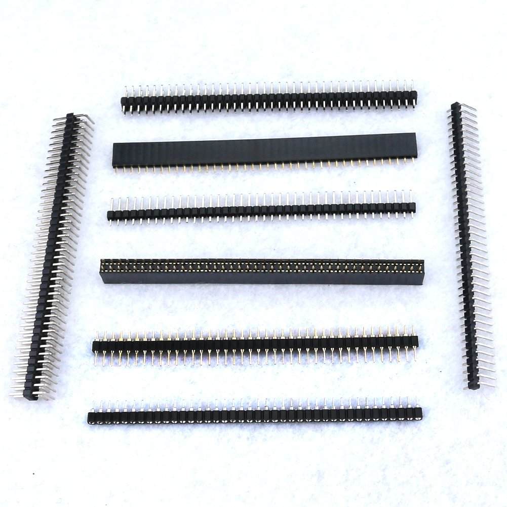 Hilitchi 40Pcs 2.54mm 40 Pin Male and Female Arduino Prototype Shield Pin Header Connector Kit (8 Varieties)