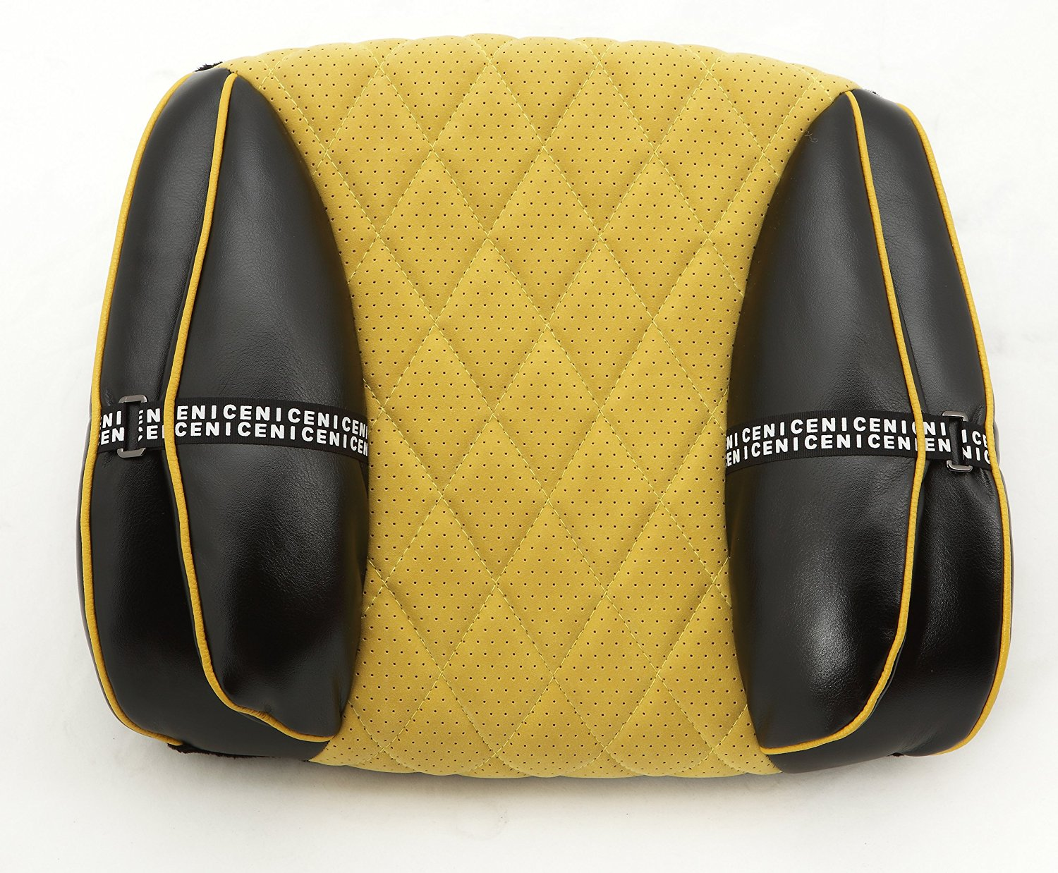 SOJOY Black and Yellow Lumbar Pillow SUMMER SALE *VERSATILE - Use in office, car, train, home, travel and abroad.