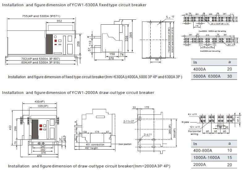 Ycw1 Air Circuit Breaker  Acb  Air Circuit Breaker 2000a