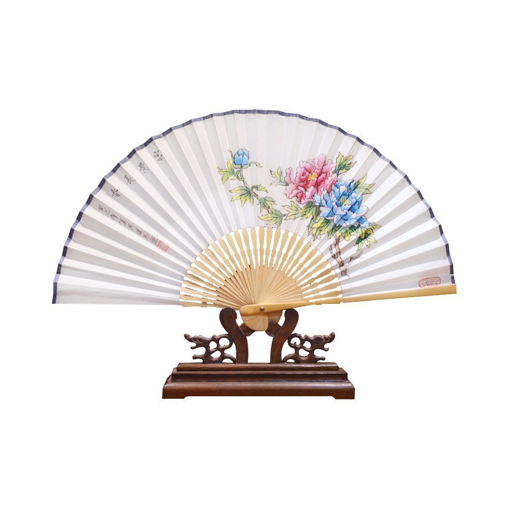 3f95cabb5 Congyixuan Hand Held Silk Folding Fans with Bamboo Frame and Hand Painted  Chinese Peony 1.