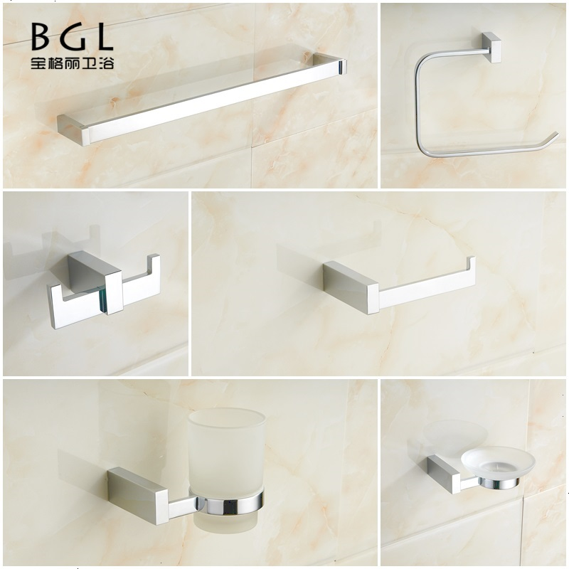 6 pcs modern luxury brass chrome plated hotel bathroom set - Chrome plated brass bathroom accessories ...