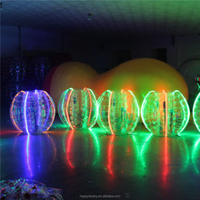Hot sale TPU human sized shining LED inflatable soccer bubble bumper ball ball for sale