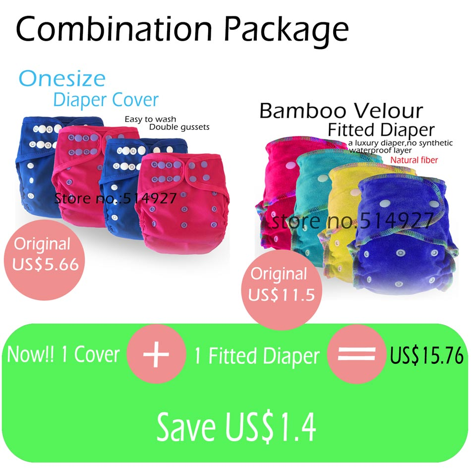 Baby Washable Reusable Real Cloth Bamboo Velour Fitted AI2 Cloth Diaper with a Waterproof Diaper Cover