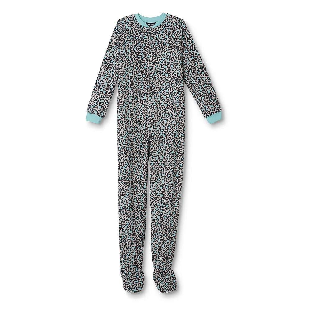 a5b34cdea Get Quotations · Joe Boxer Girls  Footed Sleeper Pajamas - Leopard XS 4