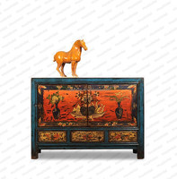Solid wooden painted furniture sell living room cabinet Chinese antique furniture hand painted furniture