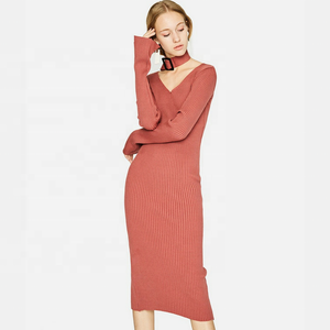 Women Sweater Office Ladies Winter Formal Dresses