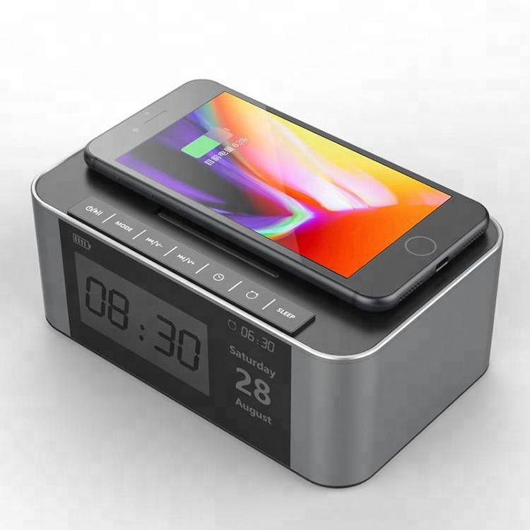 Christmas gift 3 in 1 alarm clock voice box with wireless charger for mobile phone фото