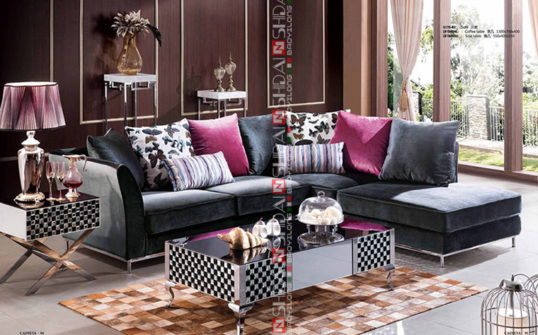 Purple Colour Fabric Sofa Turkey L Shape G175