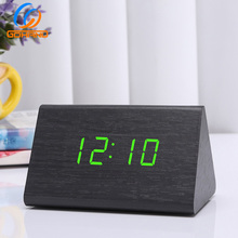 Low Price Voice Control MDF Triangle Wood Alarm Clock Led