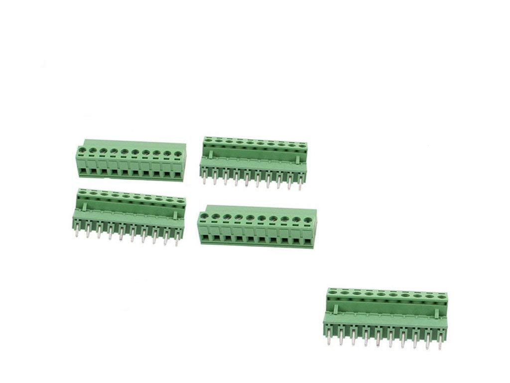 10 Pcs AC 300V 10A 10 Pins PCB Screw Terminal Block Connector 5.08mm Pitch Green