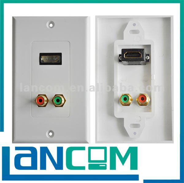 HDMI WALL PLATE FEMALE WITH 2xRCA