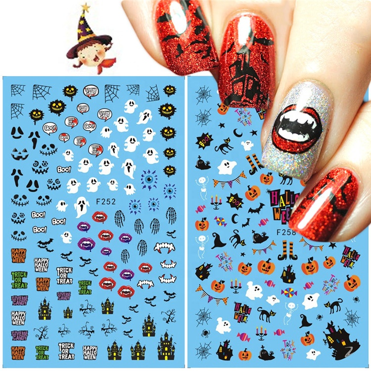 F series F253-280 Nail Sticker Water Decal Halloween Witch Sliders Decorations Manicure Christmas Nail Art Transfer Stickers