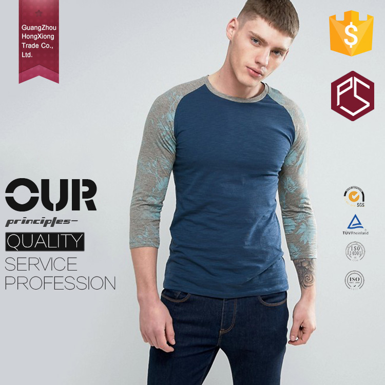 Guangzhou Hongxiong oem new fashion round neck long sleeve bamboo printed softtextile long line t shirt men