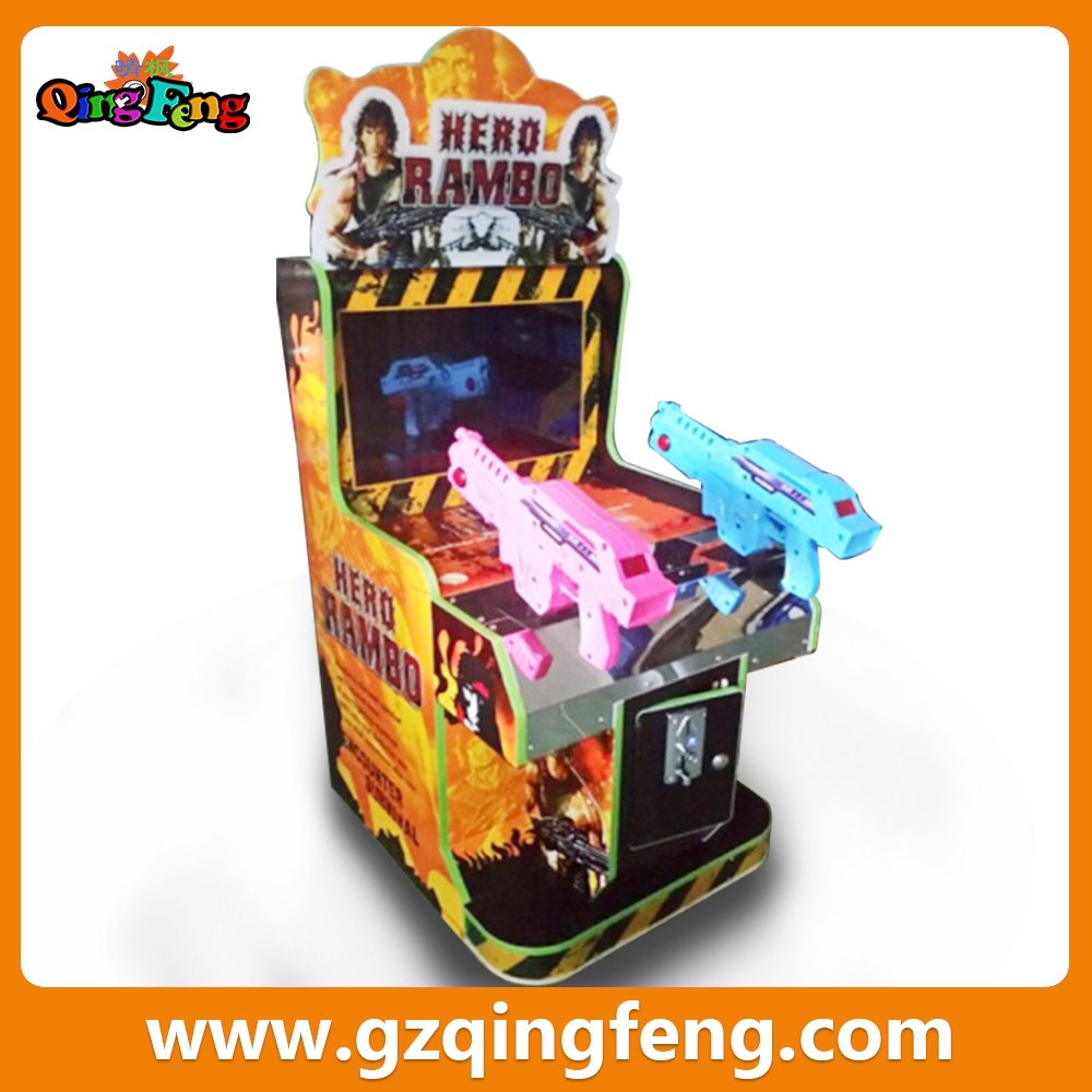 Qingfeng hot in playland 22 inch Rambo arcade machine kids shooting game machine for sale