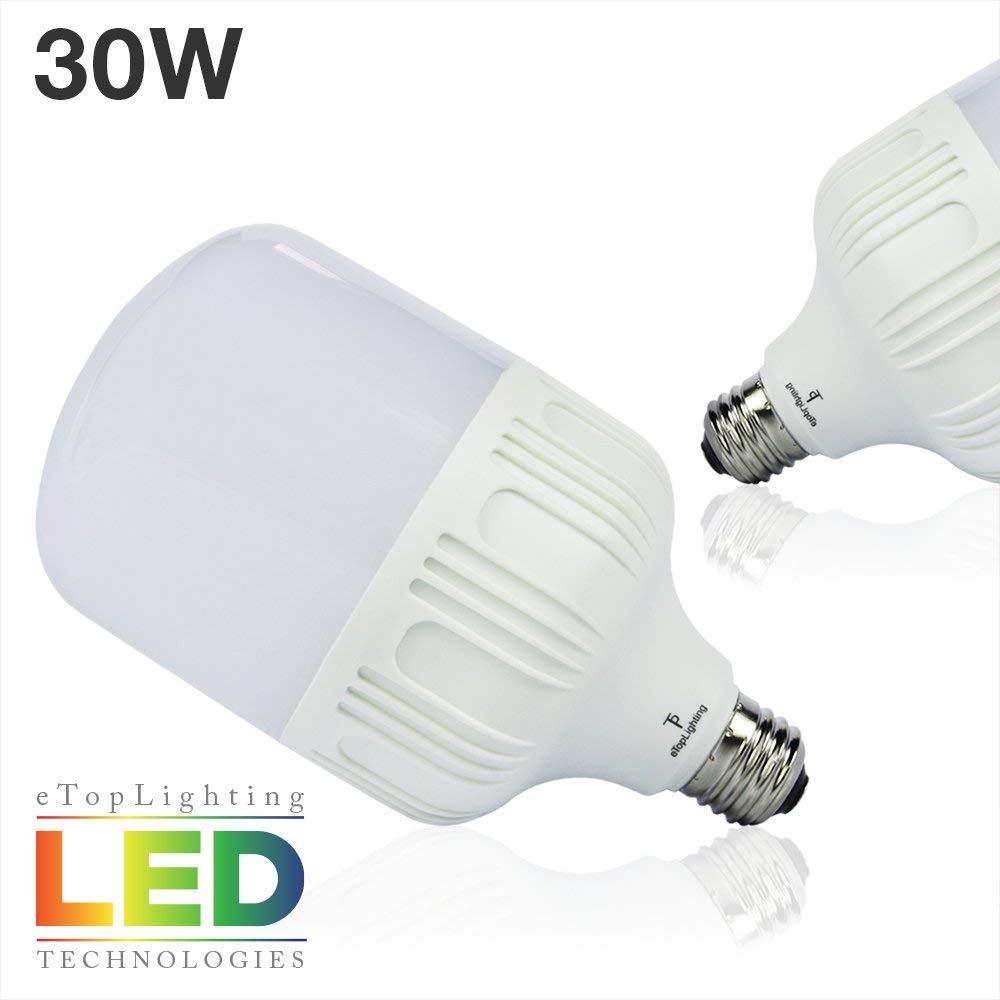 ETOPLIGHTING [2-Pack] Shatter-Resistant 30W LED Edison E26/E27 Light Bulb, 15000 Life Hours, Construction Work Sites, Home, Photo Studio, APL1484, Daylight White 6000K